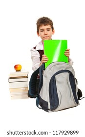 Student boy prepare to make homework isolated on white background
