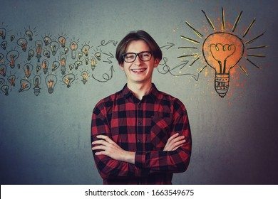 Student boy teenager thinks of new ideas, gathering and processing them to create a final plan. Ingenious adolescent nerd, creative genius wunderkind, education concept.