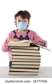 Student child infected with influenza A and mask isolated over white