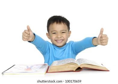 Student child smiling saying OK