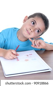 Student child studying isolated on a over white background