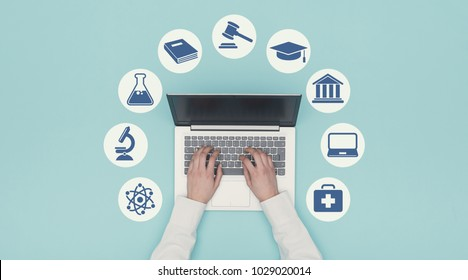 Student connecting online with a laptop and university icons: e-learning and graduation concept