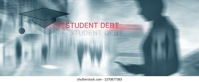 Student debt. Concept education and slavery, Student debt. Concept education and slavery. Student silhouettes