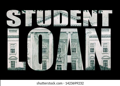 Student Debt. Student Loan in Block Letters. Image of Money. Black Background.