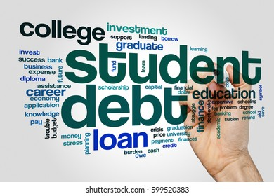 Student debt word cloud concept