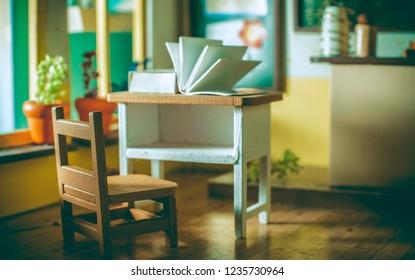 Student desks in the classroom.