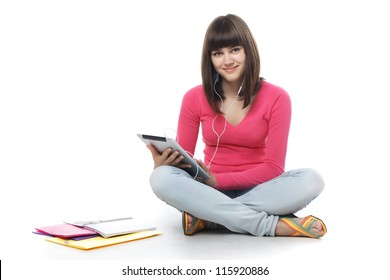 student with digital tablet.