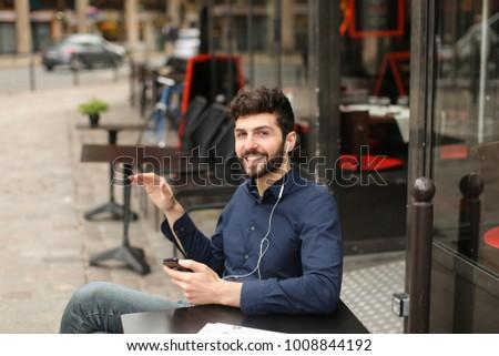 Student Dressed Blue Shirt Listening Music Stock Photo Edit
