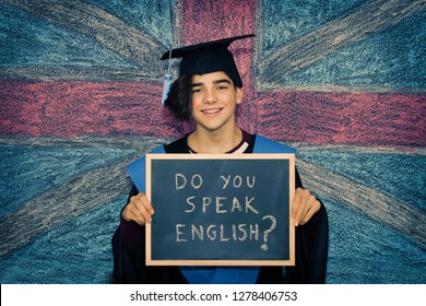 student with english speaking message, languages