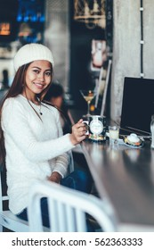 student girl in a cafe