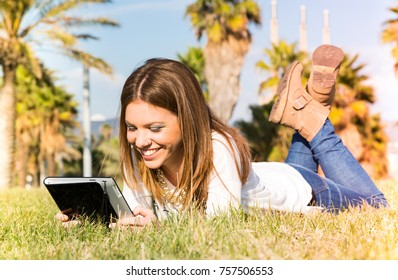 Student girl consulting online with a tablet