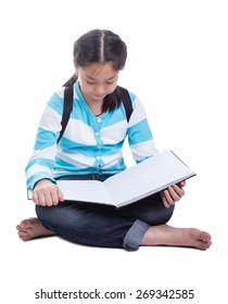 Student girl doing homework with white background