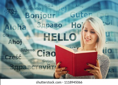 Student girl holding a dictionary and word hello translated in different languages on the background. Young school teacher learning and speaking many languages. International communication concept.