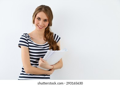 Student Girl near ther wall