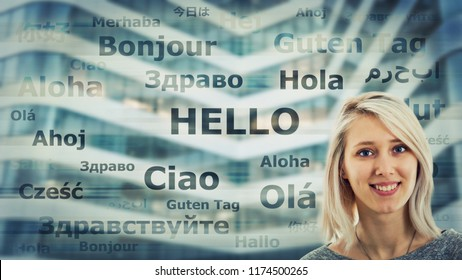 Student girl portrait and word hello translated in different languages on modern background. Young school teacher learning and speaking many languages. International communication concept.