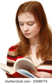 student girl reading a book on white background