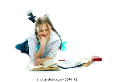 student girl reading books over white