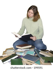 Student girl reading on the heap of books