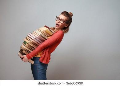 Student girl studying hard