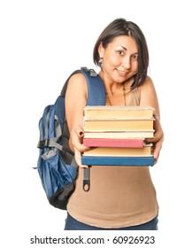 Student girl with textbooks