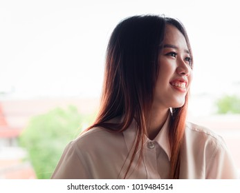 student and gradutation concept from asian beautiful girl (20s to 30s)with long black hair smile and happiness feeling