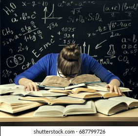 Student Hard Study Tired Bored Woman Read Books Over Blackboard Math Formulas Difficult Education