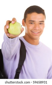 Student hold apple isolate on white
