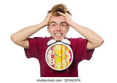 Student holding alarm clock isolated on white