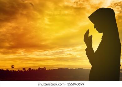 Student kindness muslim women wear hijab prayer white sun light ray background concept website banner summer dreams soul Asean arabic rise koran in trust quran to praise help heal prophet rest relax