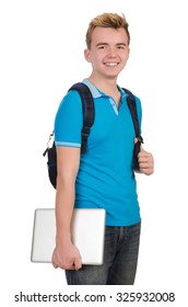 Student with laptop isolated on white