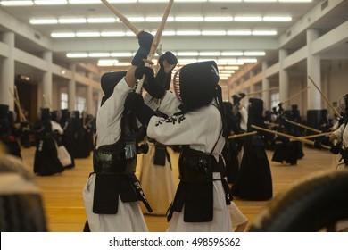 Student learn how to fight by Kendo Sword at Osaka Shudokan Kendo School in Osaka Castle Area. 12th September 2016 Osaka,Japan