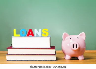 Student loan theme with textbooks and piggy bank and green chalkboard background