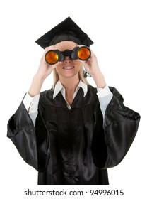 Student looking through binoculars