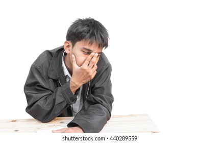 student male businessman young  headaches are using the idea portrait show on white background