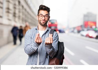 student man doing rich gesture