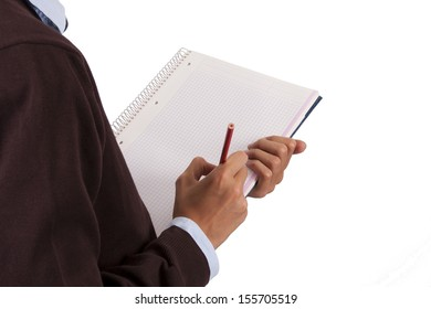 student with notebook and blank