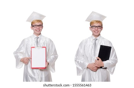 Student with notebook isolated on white