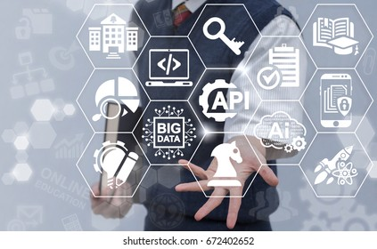 Student offers API acronym word icon on virtual screen. Application Programming Interface Online Education Strategy Concept. Internet learning software technology.