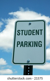 """Student Parking"" sign"