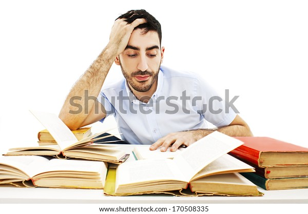 Student preparing for the exams. Isolated on white background