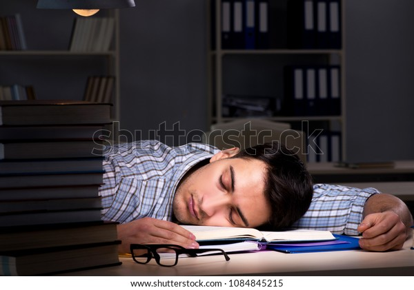 Student preparing for exams late at night