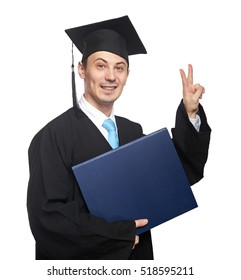 Student show piece sign isolated on graduation white background