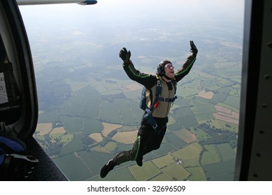 Student skydiver jumps from a airplane