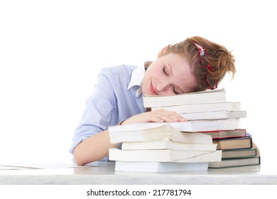 student sleeping on the books