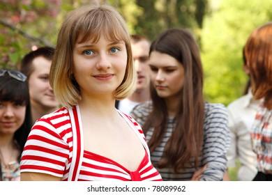 student spring outdoor portrait