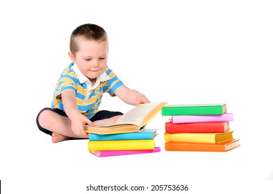 student with stack of colorful books isolated on white background