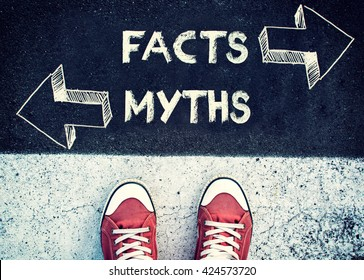 Student standing above the sign Facts and myths