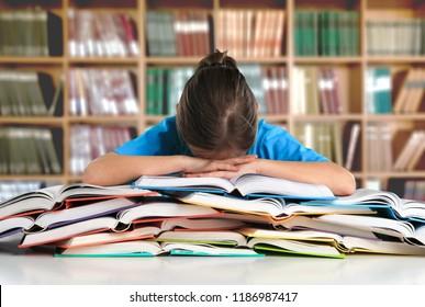 Student Studying Hard Exam and Sleeping on