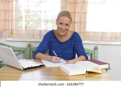 student studying for her studies