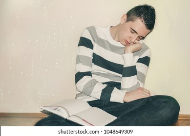 Student studying late preparing for exams